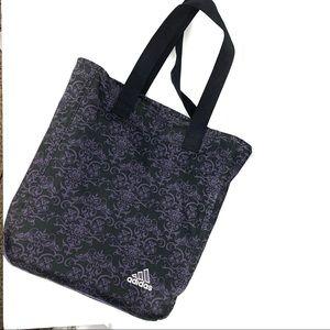 ADIDAS | Black Purple Canvas Fleur De Lis Bag Tote